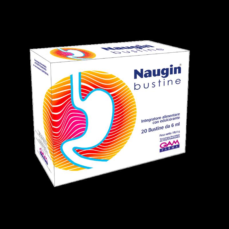Naugin Bustine integratore alimentare per contrastare acidità, bruciore di stomaco e reflusso gastro esofageo.